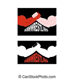 Armwrestling logo. Two strong hands