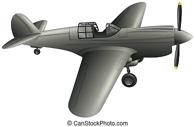Army Airplane on White Background
