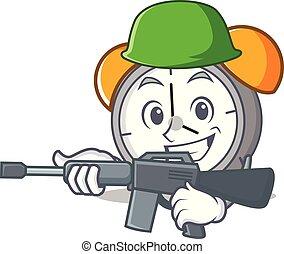 Army alarm clock character cartoon