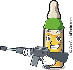 Army ampoule character cartoon style vector illustration