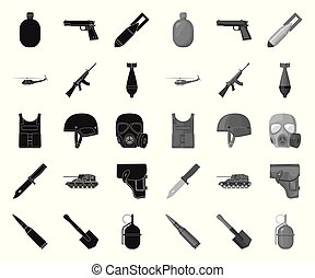 Army and armament black. mono icons in set collection for design. Weapons and equipment vector symbol stock web illustration.