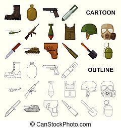 Army and armament cartoon icons in set collection for design. Weapons and equipment vector symbol stock web illustration.