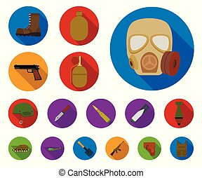 Army and armament flat icons in set collection for design. Weapons and equipment vector symbol stock web illustration.