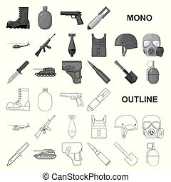 Army and armament monochrom icons in set collection for design. Weapons and equipment vector symbol stock web illustration.