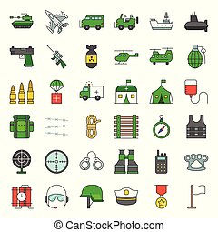 army and military icon set, filled outline design vector