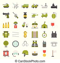 army and military icon set, flat design vector