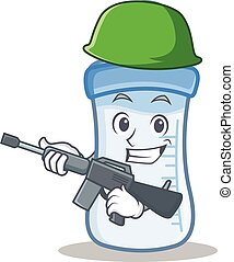 Army baby bottle character cartoon