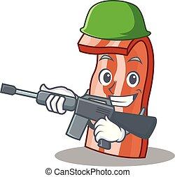 Army bacon character cartoon style