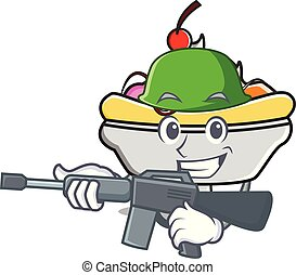 Army banana split character cartoon vector illustration