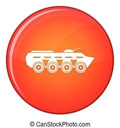 Army battle tank icon, flat style