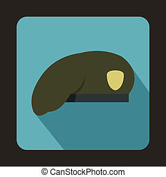 Army beret icon, flat style