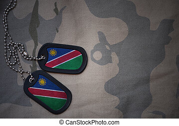 army blank, dog tag with flag of namibia on the khaki...