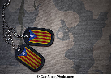 army blank, dog tag with flag of catalonia on the khaki...