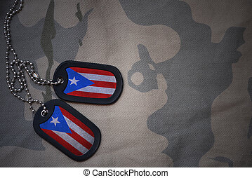army blank, dog tag with flag of puerto rico on the khaki...