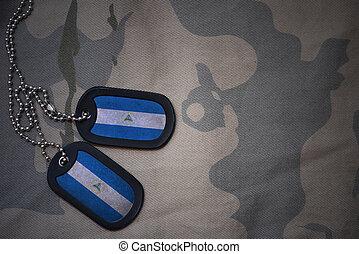 army blank, dog tag with flag of nicaragua on the khaki...
