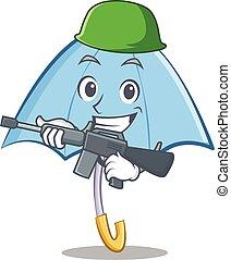 Army blue umbrella character cartoon