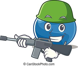 Army blueberry character cartoon style