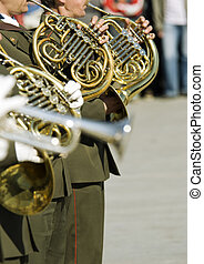 army brass band on Victory day in Russia