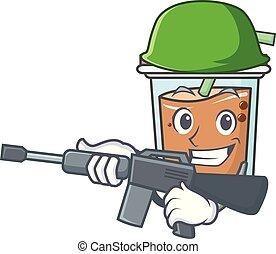 Army bubble tea character cartoon