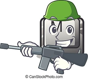 Army button M on a keyboard mascot