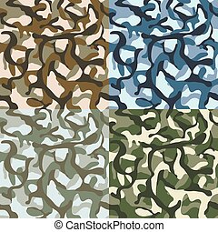 Army camouflage, hunter, combat camo vector seamless patterns set