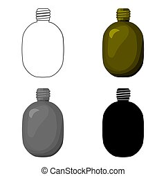 Army canteen icon in cartoon style isolated on white background. Military and army symbol stock vector illustration