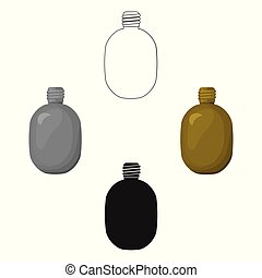 Army canteen icon in cartoon,black style isolated on white background. Military and army symbol stock vector illustration