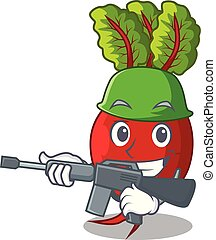 Army cartoon fresh harvested beetroots in wooden crate