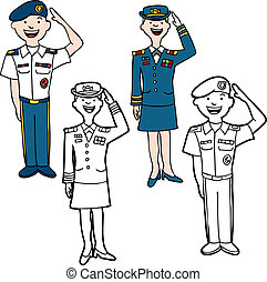 Army Cartoon People - Army cartoon people isolated on a...