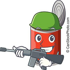 Army character canned food isolated on cartoon