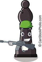 Army chess bishop isolated with the cartoon vector illustration