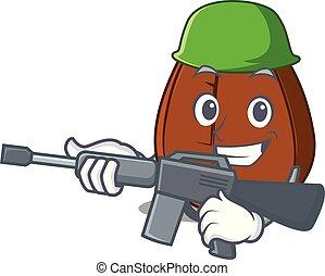 Army coffee bean character cartoon