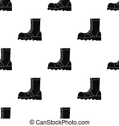 Army combat boots icon in black style isolated on white background. Military and army pattern stock vector illustration