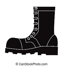 Army combat boots icon in black style isolated on white background. Military and army symbol stock vector illustration