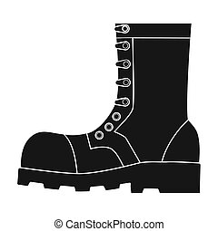 Army combat boots icon in black style isolated on white...