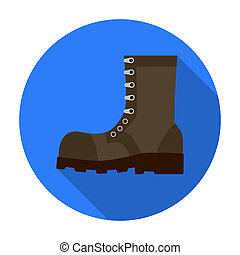 Army combat boots icon in flat style isolated on white...