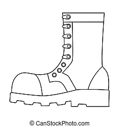 Army combat boots icon in outline style isolated on white...