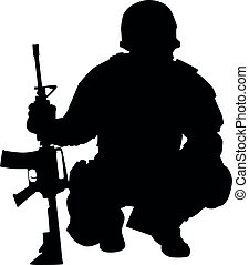 Army commando fighter isolated vector black silhouette