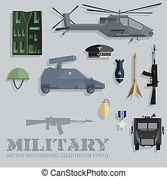 Army concept of military equipment flat icons background....