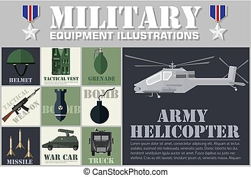 Army concept of military equipment flat icons background ....