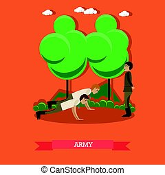 Army concept vector illustration in flat style.