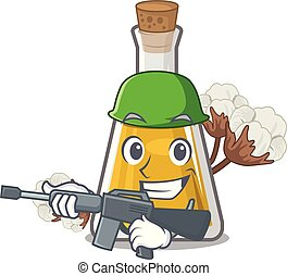 Army cottonseed oil in a mascot bottle vector illustration