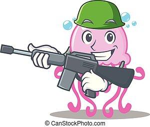 Army cute jellyfish character cartoon