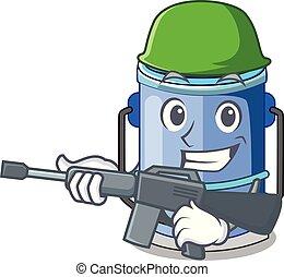 Army cylinder bucket Cartoon of for liquid