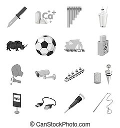 Army, dentistry, sports, transportation and other web icon in monochrome style. Parking, alcohol, animal, mine icons in set collection.