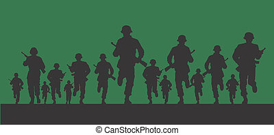 Vector based design of army soldiers for use in web or print.