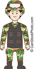 Army doodle cartoon