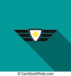 Army emblem icon, flat style