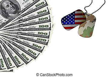Army expenses conceptual image with ID Tags and US dollars