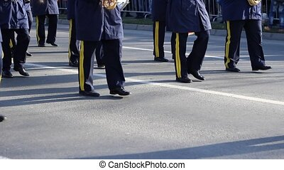 Army Fanfare Parade - Military band, with blue uniforms,...